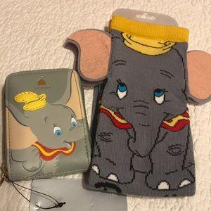 Dumbo combo Disney socks and Loungfly card holder